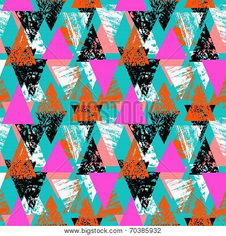 Hand painted bold pattern with triangles