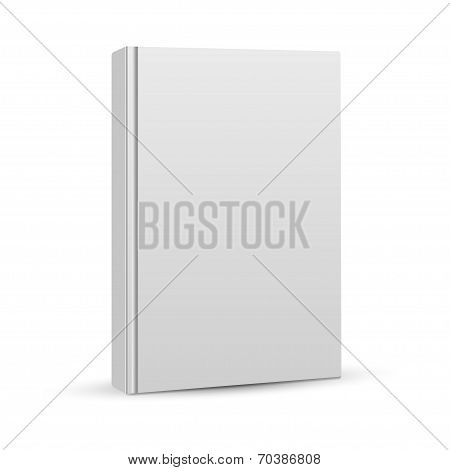 Blank book cover template on white background with soft