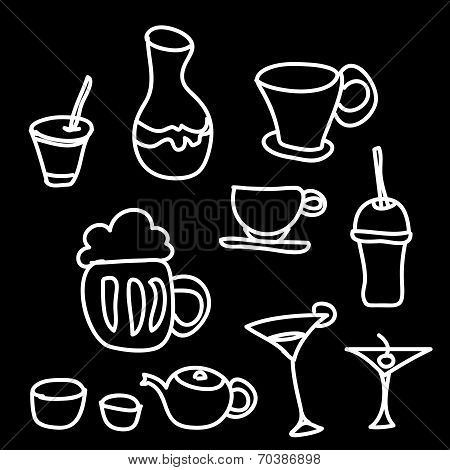 Drink & Beverage Icons Set On A Black Background