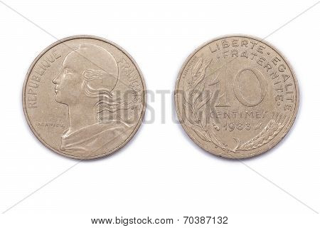 Ten French Centimes - 1983.