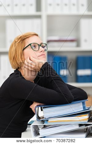 Young Dejected Businesswoman Sitting Thinking