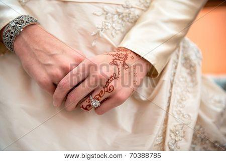 Beautiful female hands with mehndi decoration