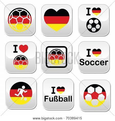 I love German football, soccer buttons set