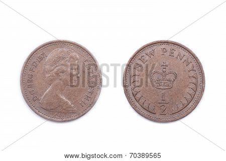 British Half a New Penny.