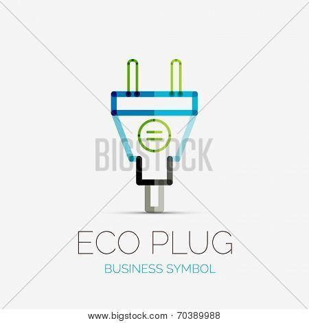 Vector eco plug company logo design, business symbol concept, minimal line style