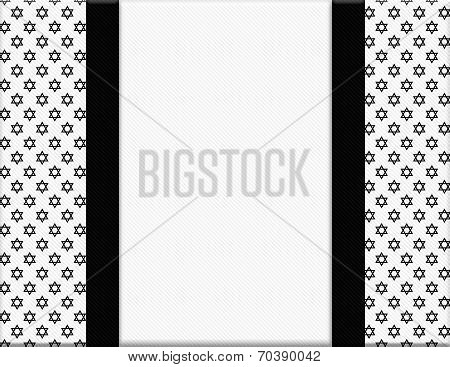 Black And White Star Of David Patterned Frame With Ribbon Background