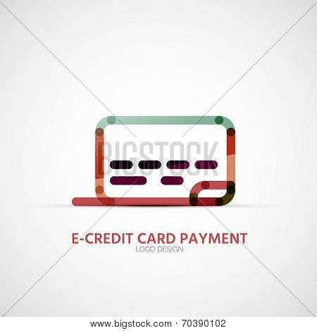 Vector credit card company logo design, business symbol concept, minimal line design
