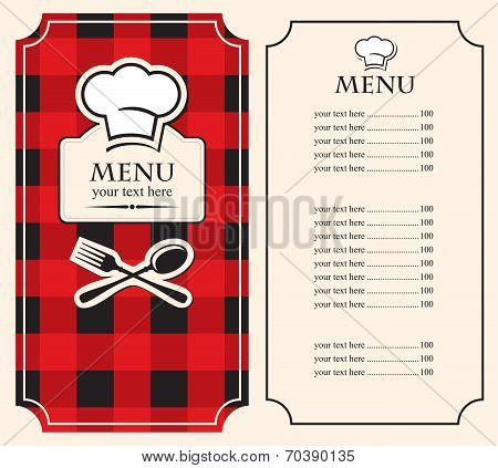 Menu on black red background
