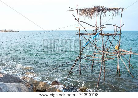 Traditional Fishing Method Using A Bamboo Square Dip Net At South Of Thailand.