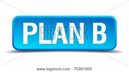 Plan B Blue 3D Realistic Square Isolated Button