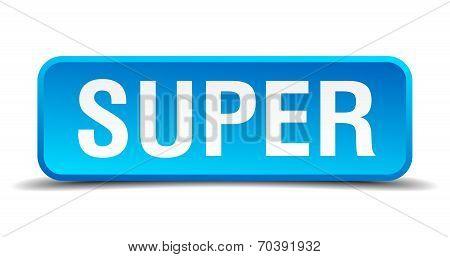 Super Blue 3D Realistic Square Isolated Button