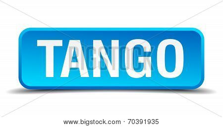 Tango Blue 3D Realistic Square Isolated Button