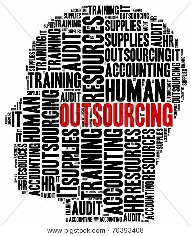 Outsourcing In Business. Word Cloud Illustration Concept.