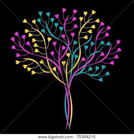Decorative Tree. No Mesh, Gradient, Transparency Used. Objects Grouped And Named In English.