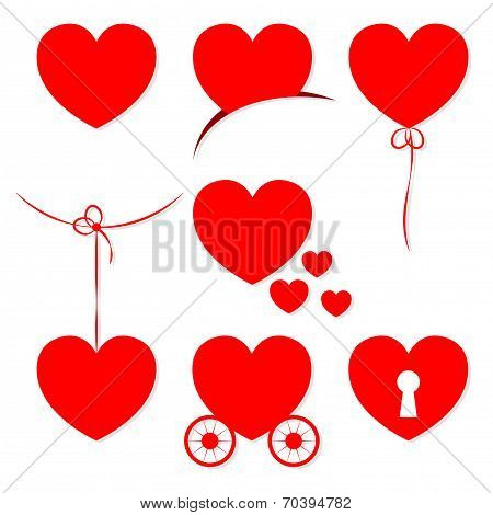 Set Of 7 Valentine's Day Hearts. Objects Grouped And Named In English. No Mesh, Gradient, Transparen