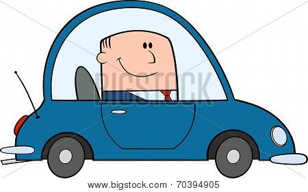 Businessman Driving Car To Work