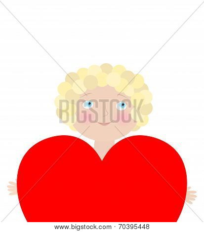 Valentine's Day Card Template. Objects Grouped And Named In English. No Mesh, Gradient, Transparency