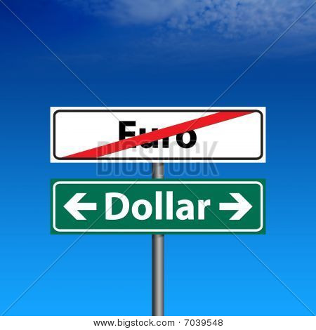 Road Sign The End Of Euro Zone, Dollar Forever