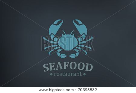Seafood Restaurant Logo vector design template. Crab Logotype vintage style icon.