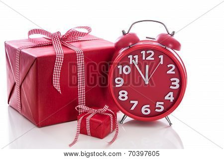 Big Red Gift Box With Red Alarm Clock - Last Minute Christmas Shopping