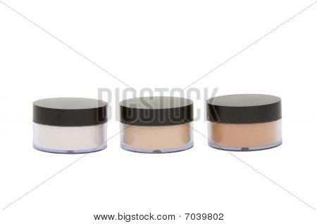 Cosmetic Jars With Powder Isoleted In White