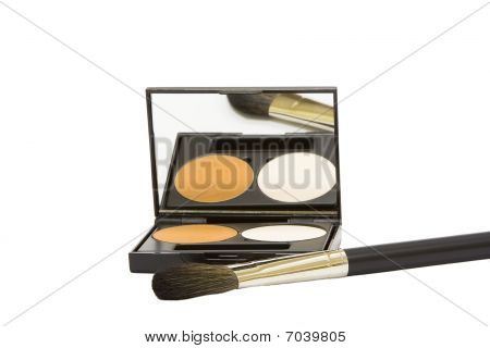 Make-up Box With Powder And Brush Isolated In White