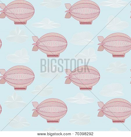 Seamless Pattern With Pink Zeppelins. Objects Grouped And Named In English. No Mesh,gradient, Transp