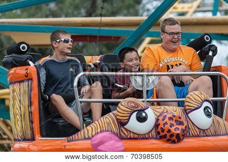 Boys On Carnival Ride At State Fair