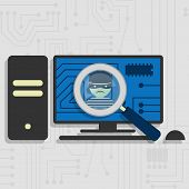 pic of malware  - Malware detected on pc represented by a magnifying glass focusing on the figure of a thief - JPG