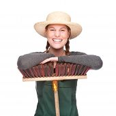 picture of pinner  - Full isolated portrait of a beautiful caucasian gardener with besom - JPG