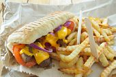 stock photo of cheese-steak  - Beef steak sandwich with french fries takeout - JPG