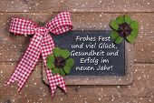 picture of red clover  - Greeting card for christmas and happy new year with clovers in country style  - JPG