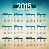 stock photo of tuesday  - Calendar 2015 vector template week starts monday - JPG