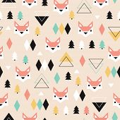 picture of christmas theme  - Seamless geometric pastel holidays theme fox forest and triangle christmas tree background pattern in vector - JPG