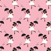 image of dancing rain  - Seamless dancing afro american girls ballerina show girl illustration background pattern in vector - JPG