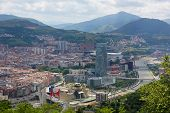 stock photo of basque country  - Panorama on the center of Bilbao Basque country Spain - JPG