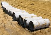 Concrete Sewer Pipes on Construction Site