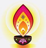 image of kolam  - Indian new year diwali candle light illustration - JPG