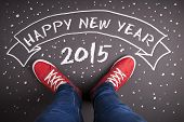 picture of foot  - Happy new year 2015 concept with red shoes and white chalk - JPG