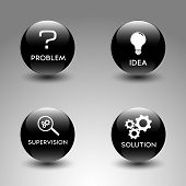 stock photo of supervision  - Four black glossy icons representing the problem solving process  - JPG