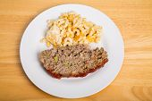 foto of meatloaf  - A Traditional meatloaf with macaroni and cheese - JPG