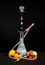 picture of shisha  - Beautiful traditional shisha hookah or Sheesha water pipe with exotic fruits on a black background - JPG