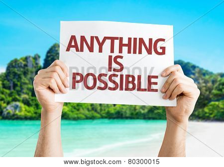 Anything is Possible card with a beach on background