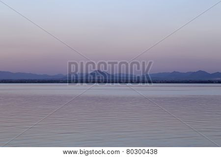 Pa Sak River With Mountain, Lopburi, Thailand