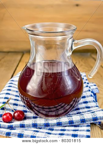 Compote cherry in glass jar on board