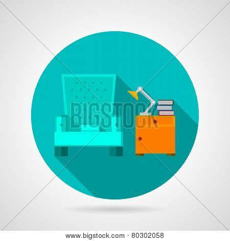 Flat color room interior vector icon