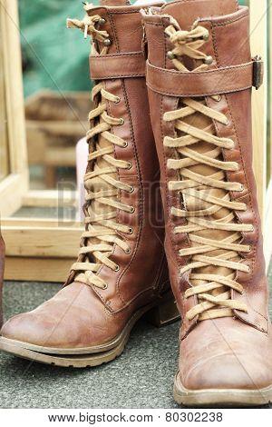 Close Up Of Vintage Cowboy Boots