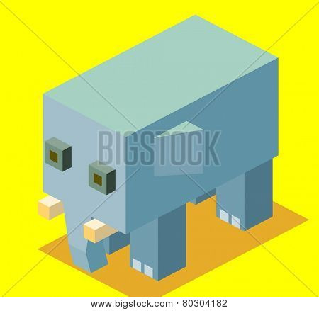 blue elephant. 3d pixelate isometric vector