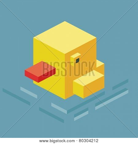 swimming duck. 3d pixelate isometric vector