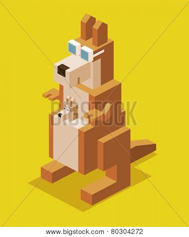 kangaroo with glasses. 3d pixelate isometric vector
